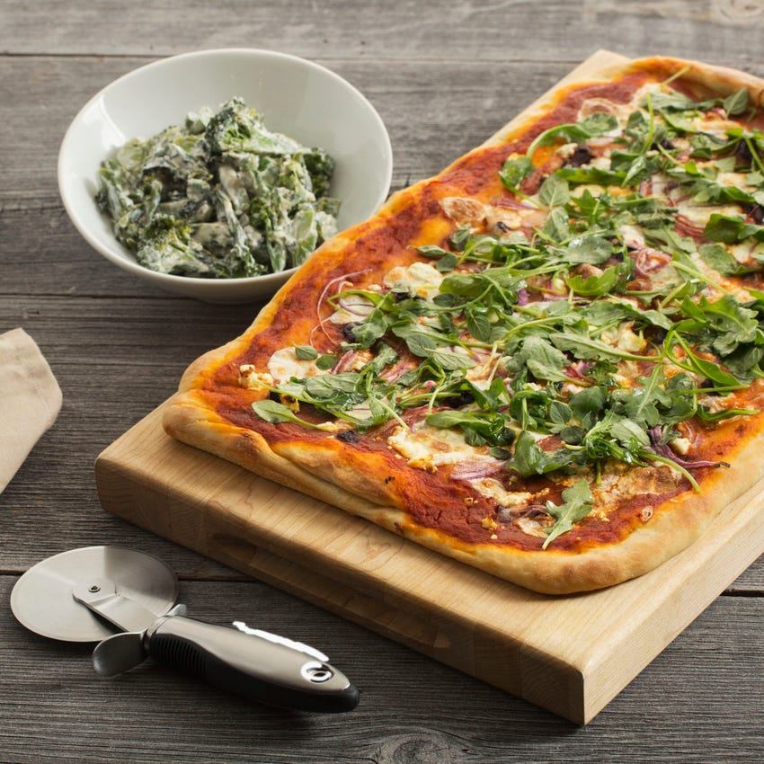 Greek Pizza with Warm Broccolini Salad