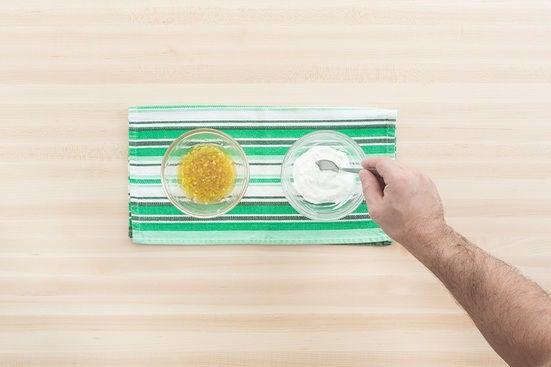 Make the vinaigrette & season the labneh:
