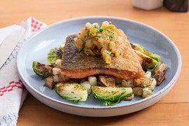 Seared Salmon & Fall Vegetables with Apple-Brown Butter Vinaigrette