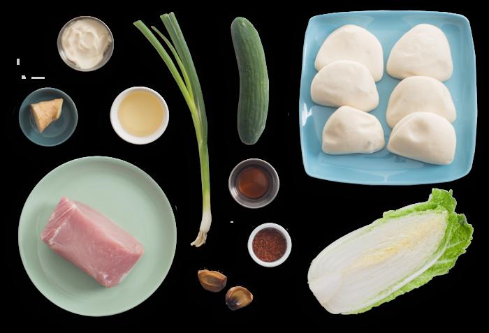 Roasted Pork Steam Buns with Black Garlic Mayonnaise & Spicy Cabbage Slaw