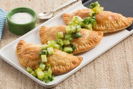 Spicy Butternut Squash Empanadas with Green Tomato Salsa & Lime Crema