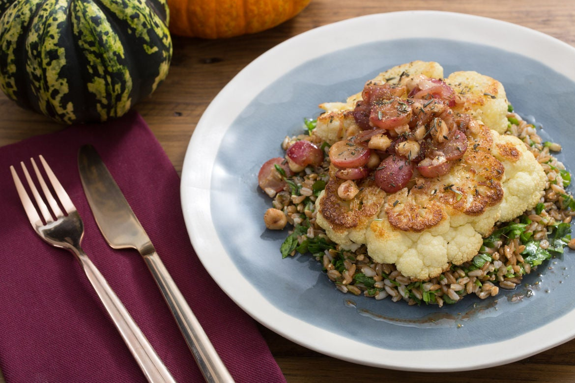 Cauliflower Steaks & Farro Salad with Grape & Brown Butter Sauce
