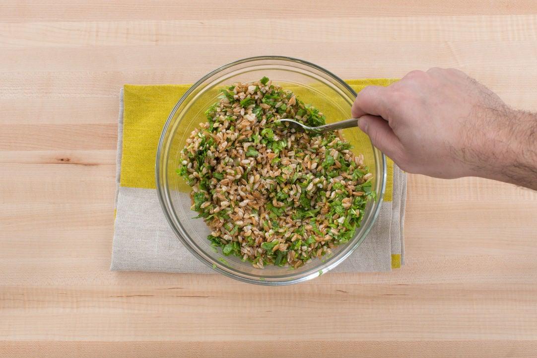 Make the farro salad: