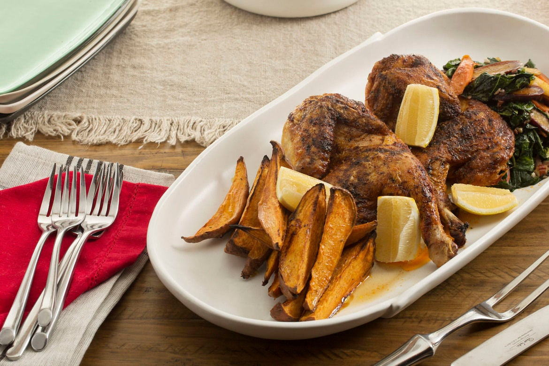 BBQ Roasted Chicken with Maple Sweet Potato & Collard Greens