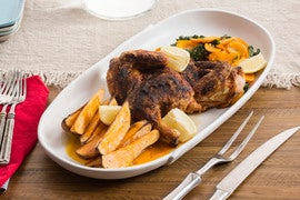 BBQ Roasted Chicken with Maple Sweet Potato Wedges & Collard Greens