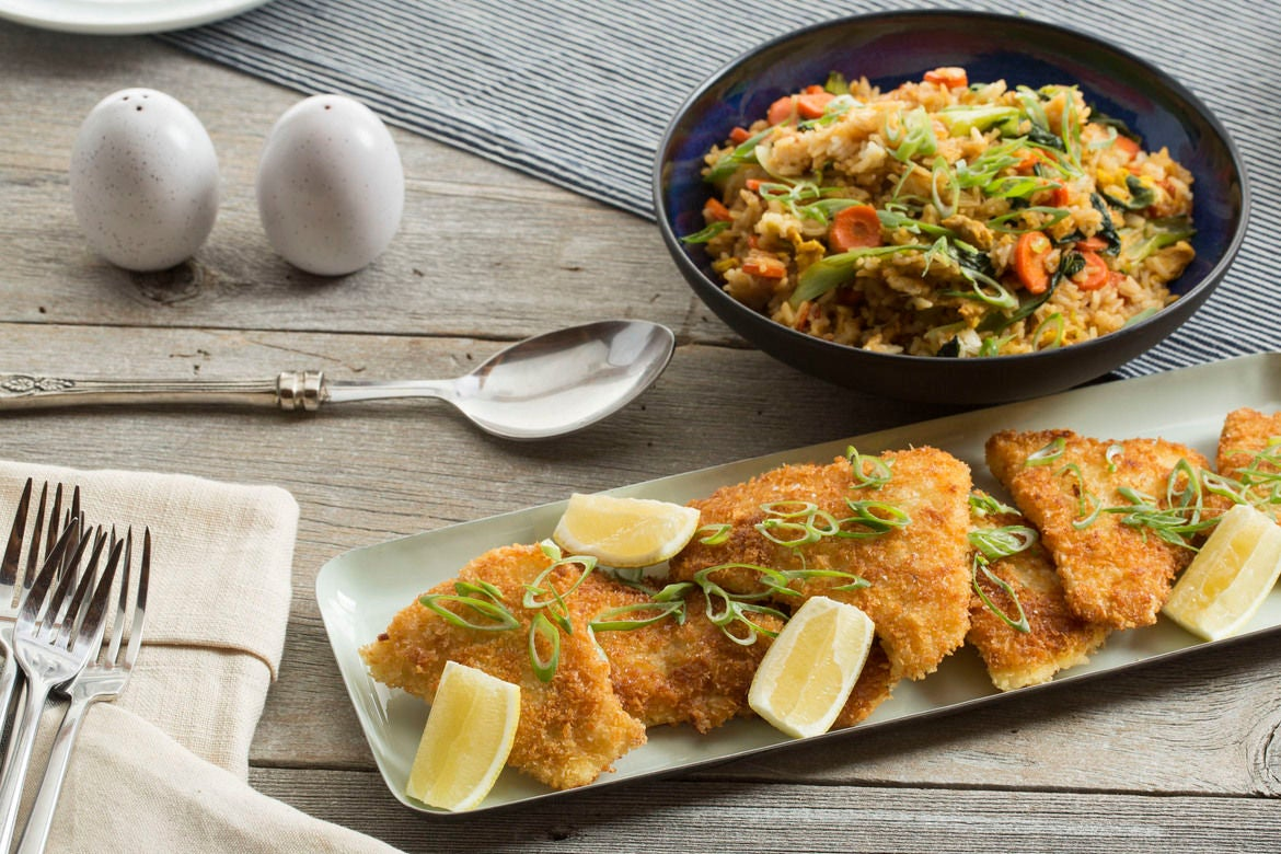 Crispy Cod & Fried Rice with Baby Bok Choy & Carrot