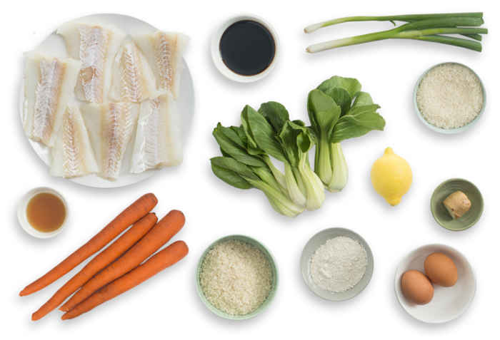Crispy Cod & Fried Rice with Baby Bok Choy & Carrot ingredients