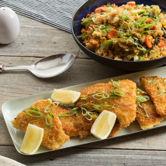 Crispy Cod & Fried Rice with Baby Bok Choy & Carrots