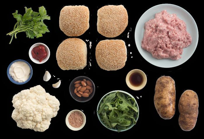 Smoky Pork Burgers with Cauliflower, Pepper & Potato Salad ingredients