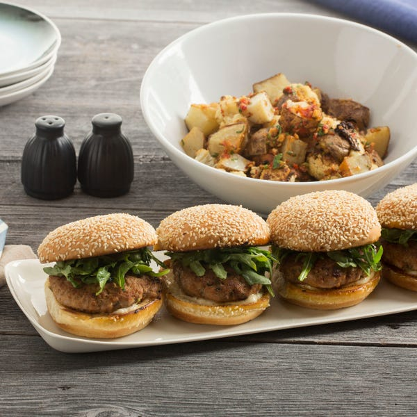 Smoky Pork Burgers with Cauliflower, Pepper & Potato Salad
