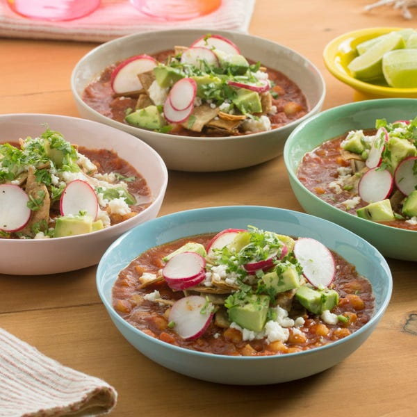 Hominy Tortilla Soup with Queso Fresco & Avocado