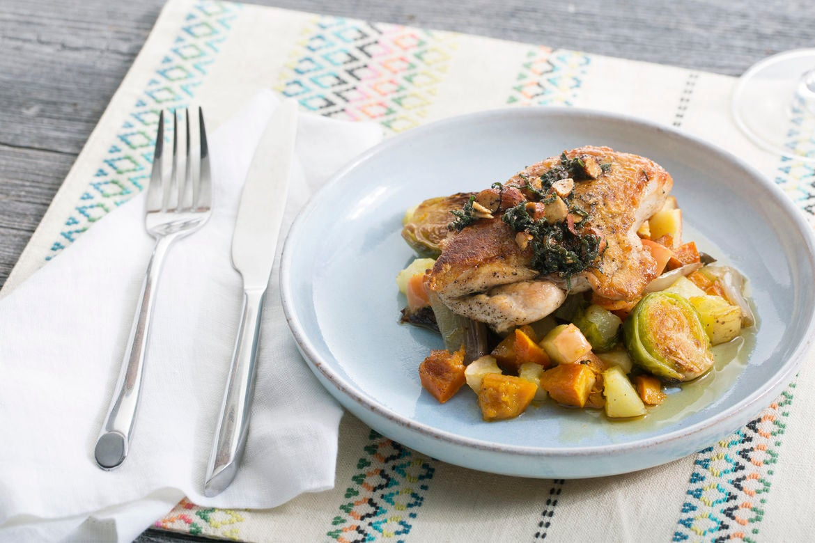Seared Chicken with Honeynut Squash, Brussels Sprouts & Apple