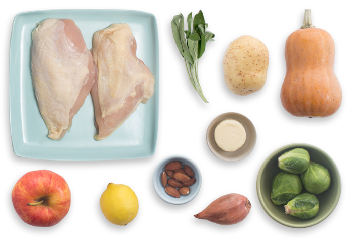 Seared Chicken with Honeynut Squash, Brussels Sprouts & Apple ingredients
