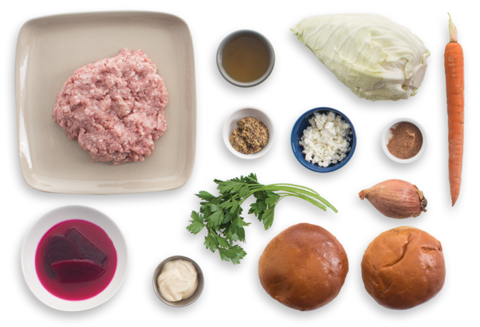 Spiced Pork Burgers with Pickled Beets & Cone Cabbage Slaw ingredients
