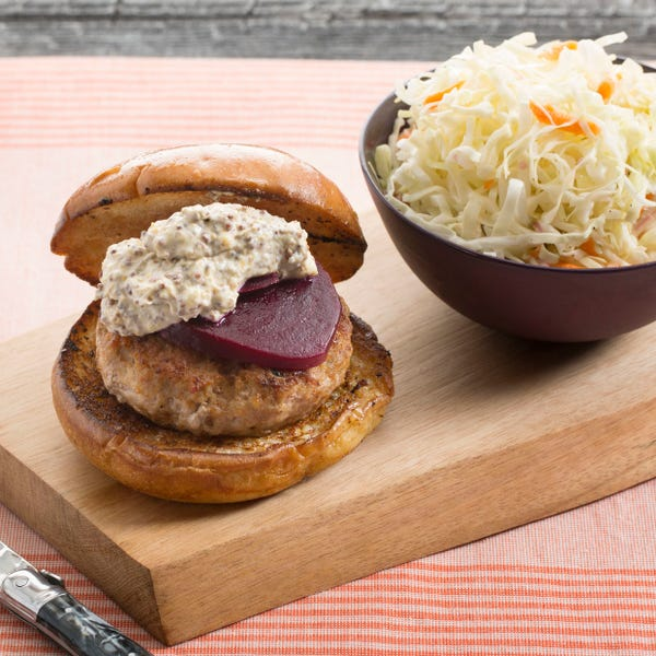 Spiced Pork Burgers with Pickled Beets & Cone Cabbage Slaw