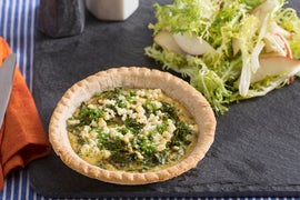 Caramelized Onion & Kale Quiches with Frisée & Pear Salad