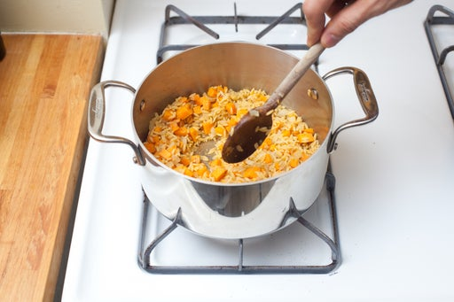 Start cooking the sweet potato orzo: