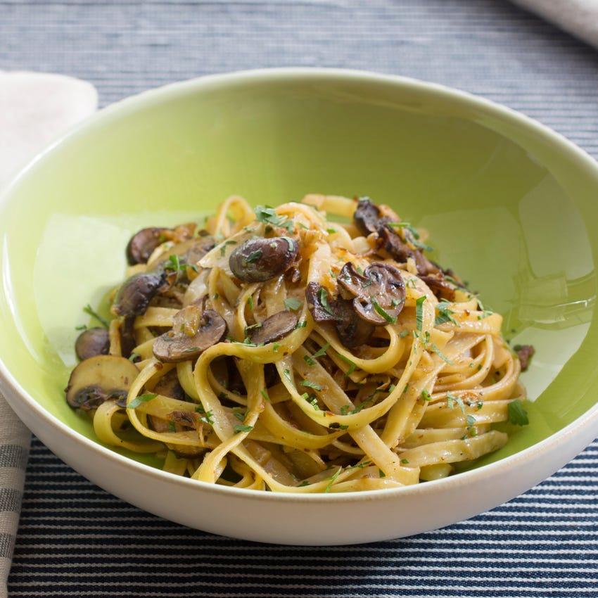 Mushroom & Fennel Fettuccine with Hakurei Turnips & Mascarpone Cheese