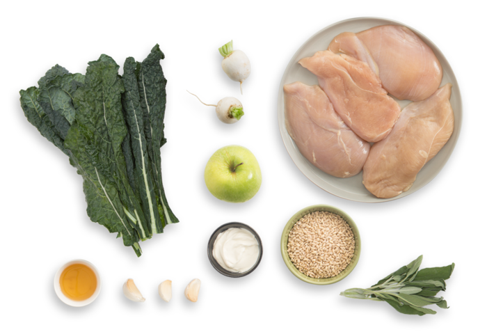 Seared Chicken with Turnip, Apple & Barley Salad ingredients