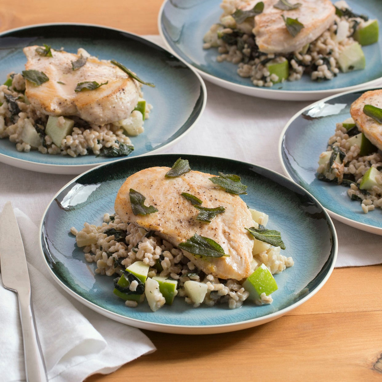 Seared Chicken with Turnip, Apple & Barley Salad