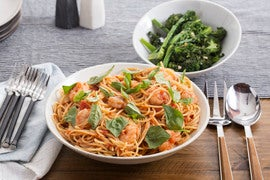 Spicy Spaghetti & Shrimp Marinara with Broccolini & Basil