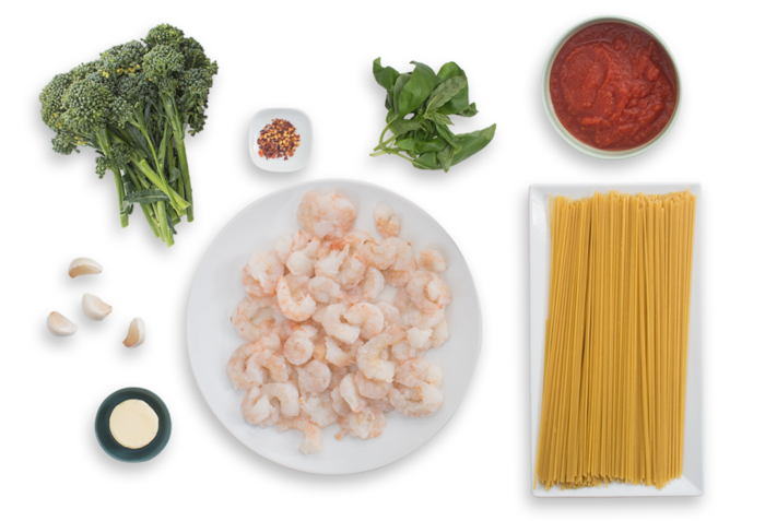 Spicy Spaghetti & Shrimp Marinara with Broccolini & Basil ingredients