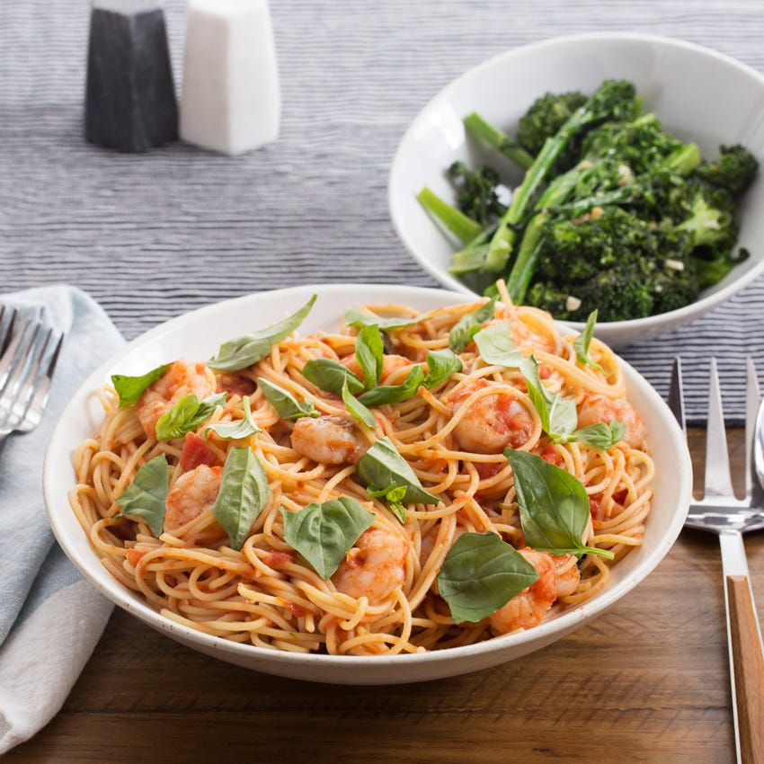 Spicy Spaghetti & Shrimp Marinara with Broccolini & Basil