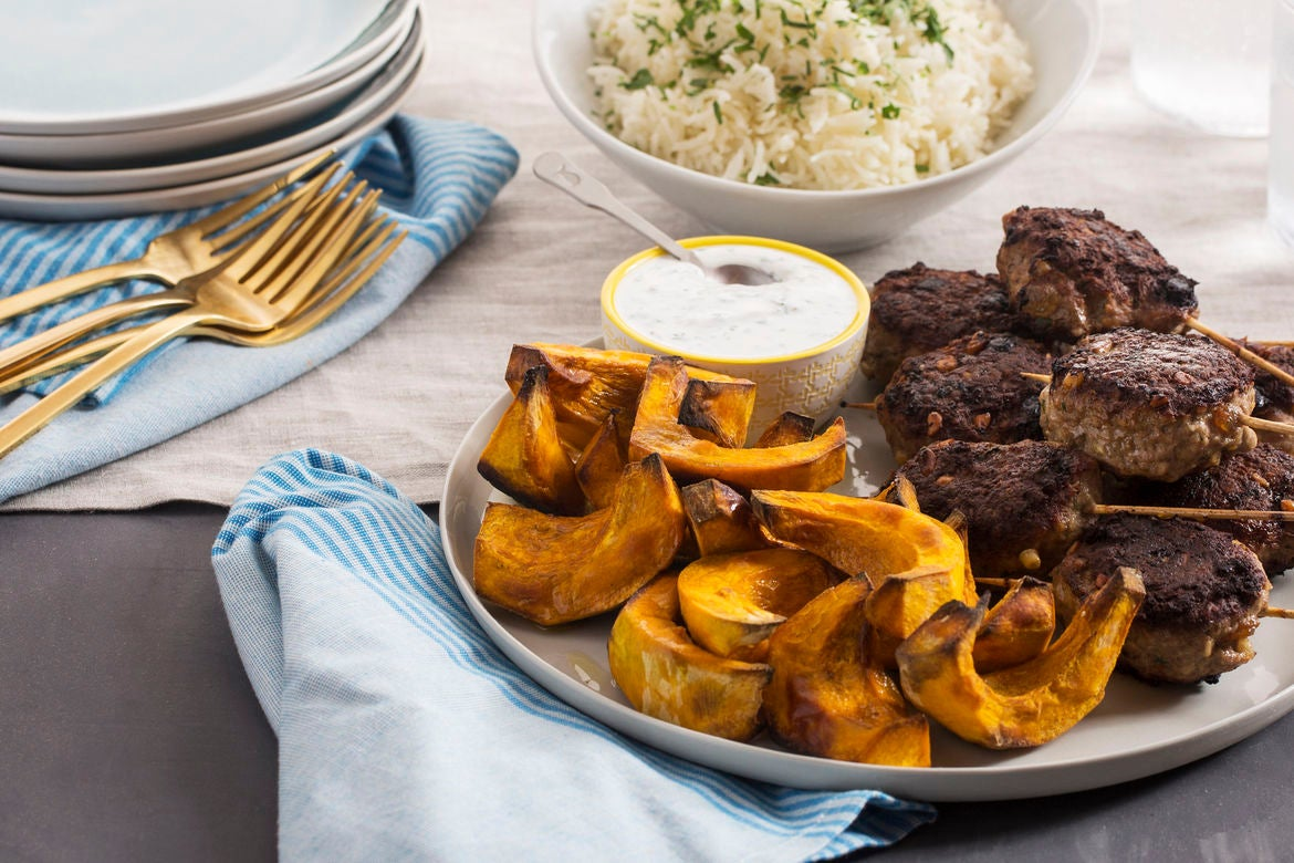Mediterranean Beef Skewers with Roasted Shokichi Squash & Yogurt Sauce