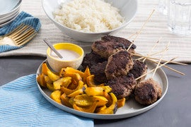 Mediterranean Beef Skewers with Roasted Shokichi Squash & Garlic Rice