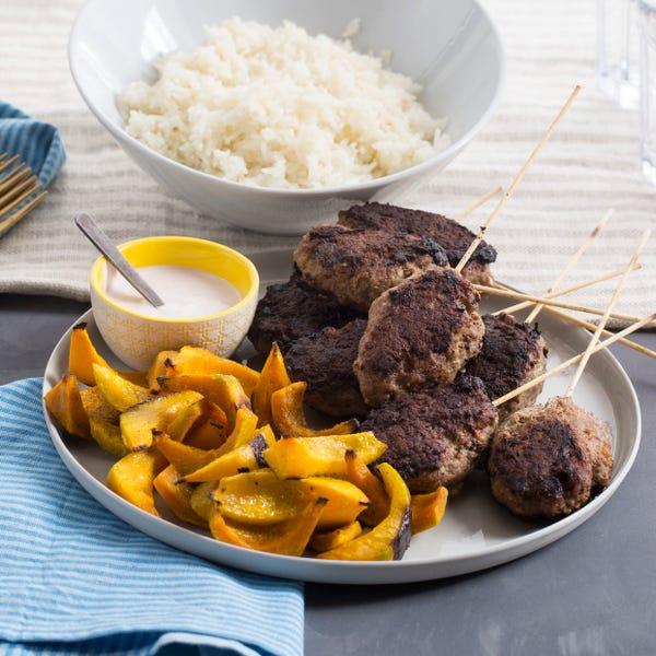 Mediterranean Beef Skewers with Roasted Shokichi Squash & Garlic Rice