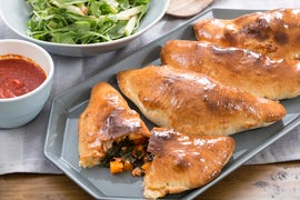Butternut Squash & Fontina Calzones with Apple & Arugula Salad