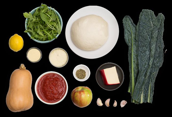Butternut Squash & Fontina Calzones with Apple & Arugula Salad ingredients