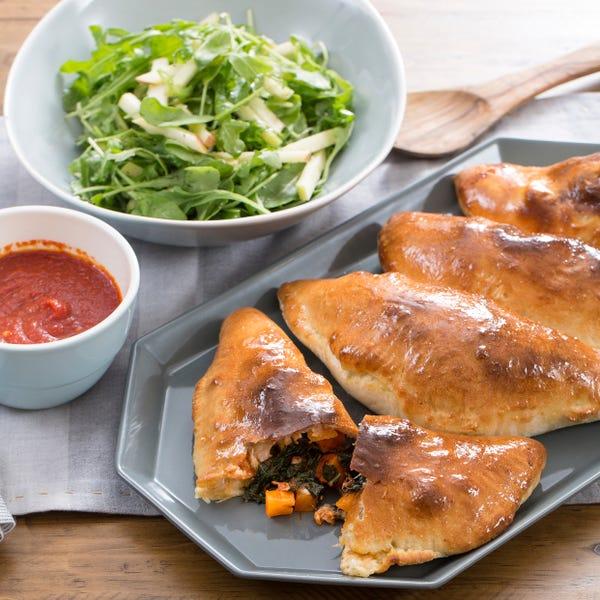 Butternut Squash & Fontina Calzones with Apple & Arugula Salad