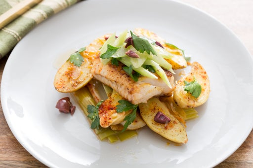 Seared Hake with Melted Leeks & Fingerling Potatoes