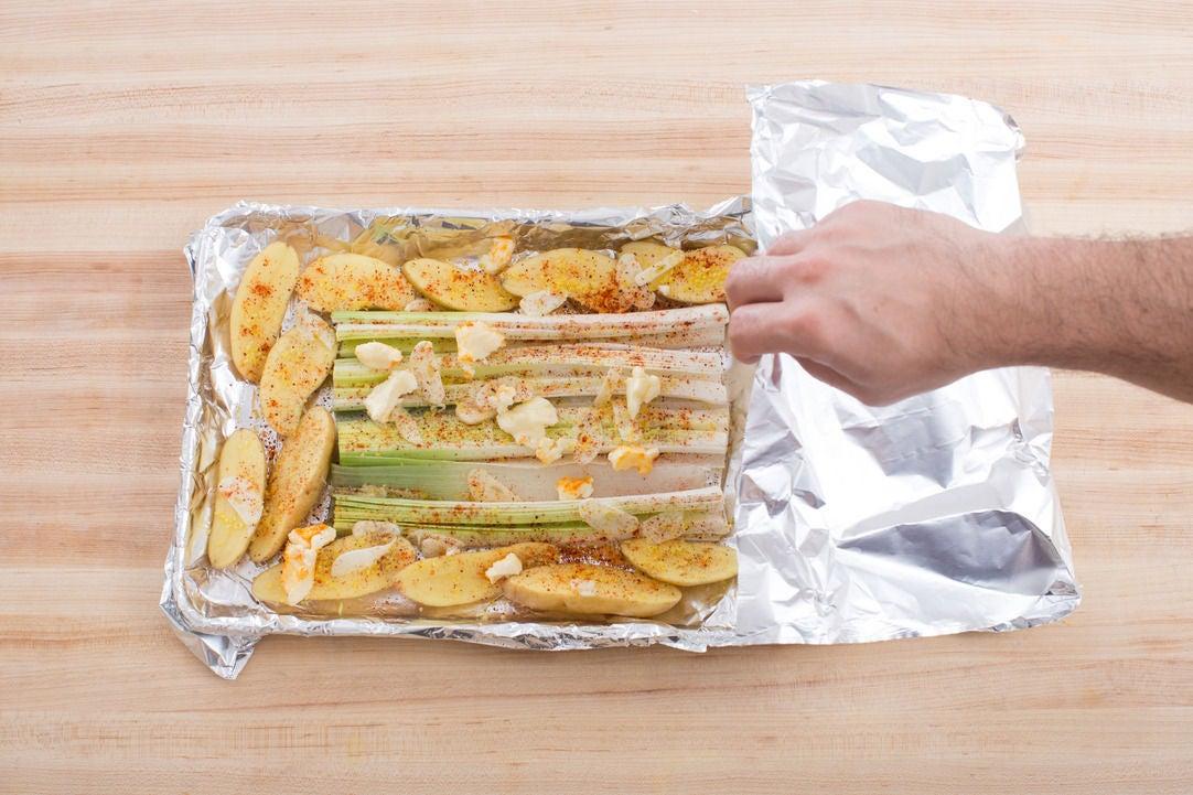 Prepare the leeks & potatoes: