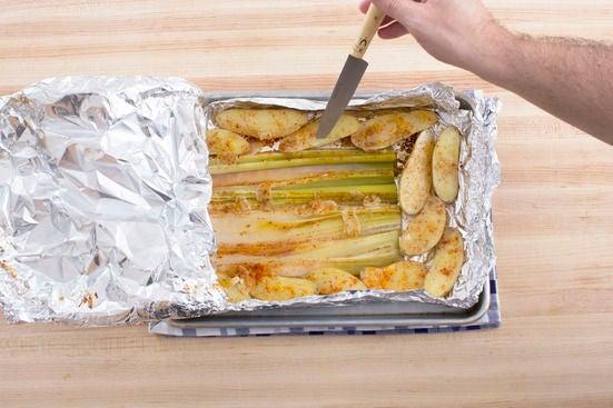 Roast the leeks & potatoes: