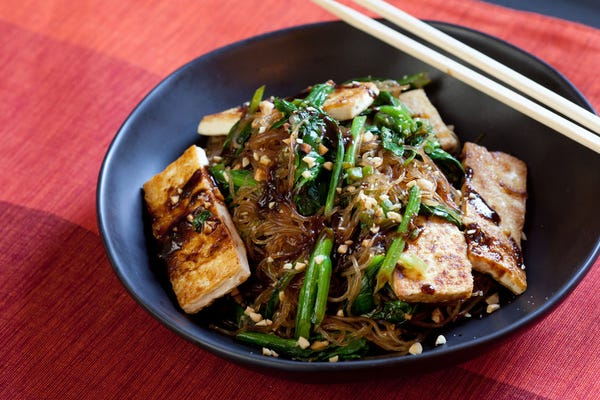 Yu Choy Cellophane Noodle Stir-Fry with Tofu & Peanuts
