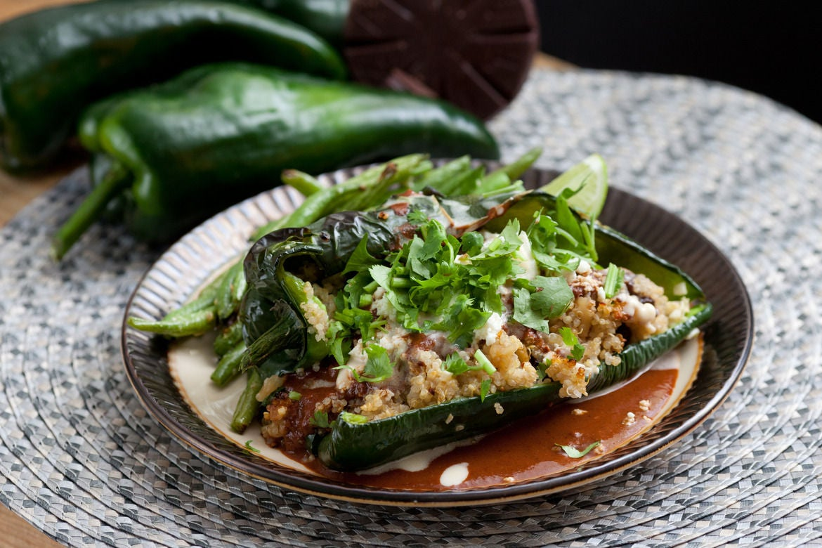 Quinoa-Stuffed Poblanos with Mole Sauce & Green Beans
