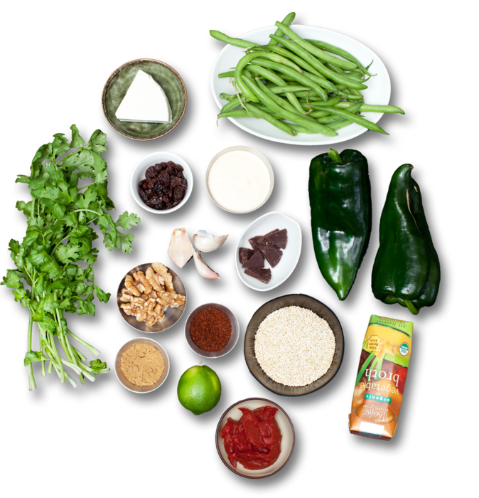 Quinoa-Stuffed Poblanos with Mole Sauce & Green Beans ingredients