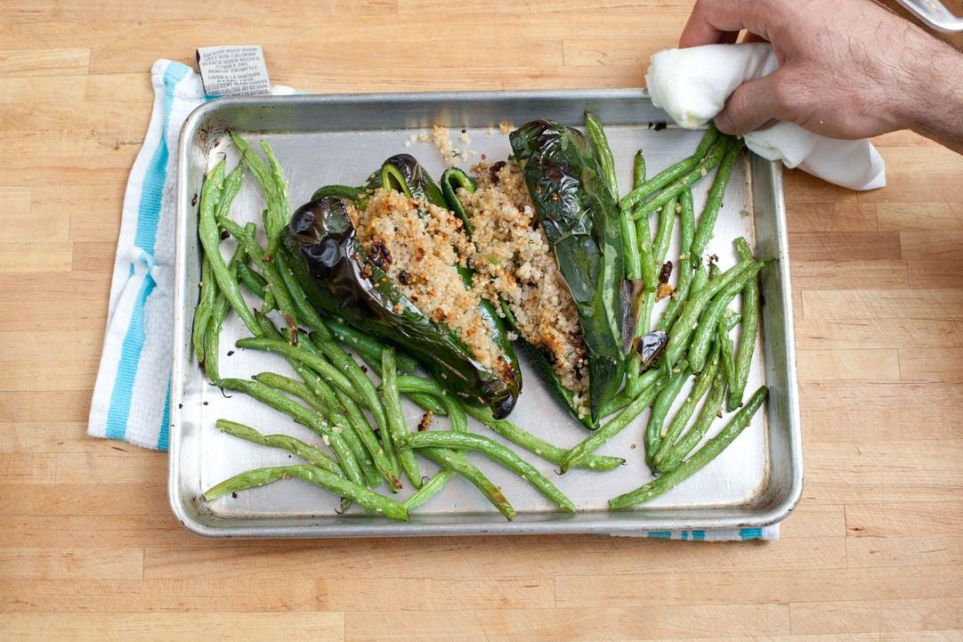 Roast the green beans & poblanos: