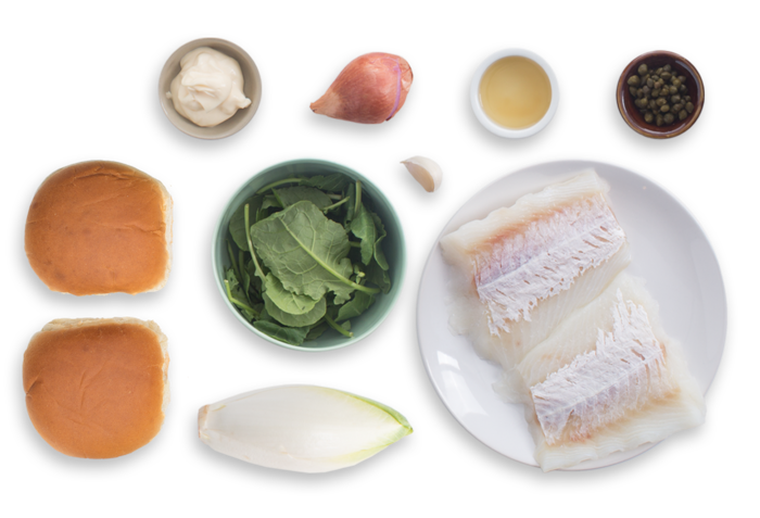 Cod Sandwiches with Caper Aioli & Endive Salad