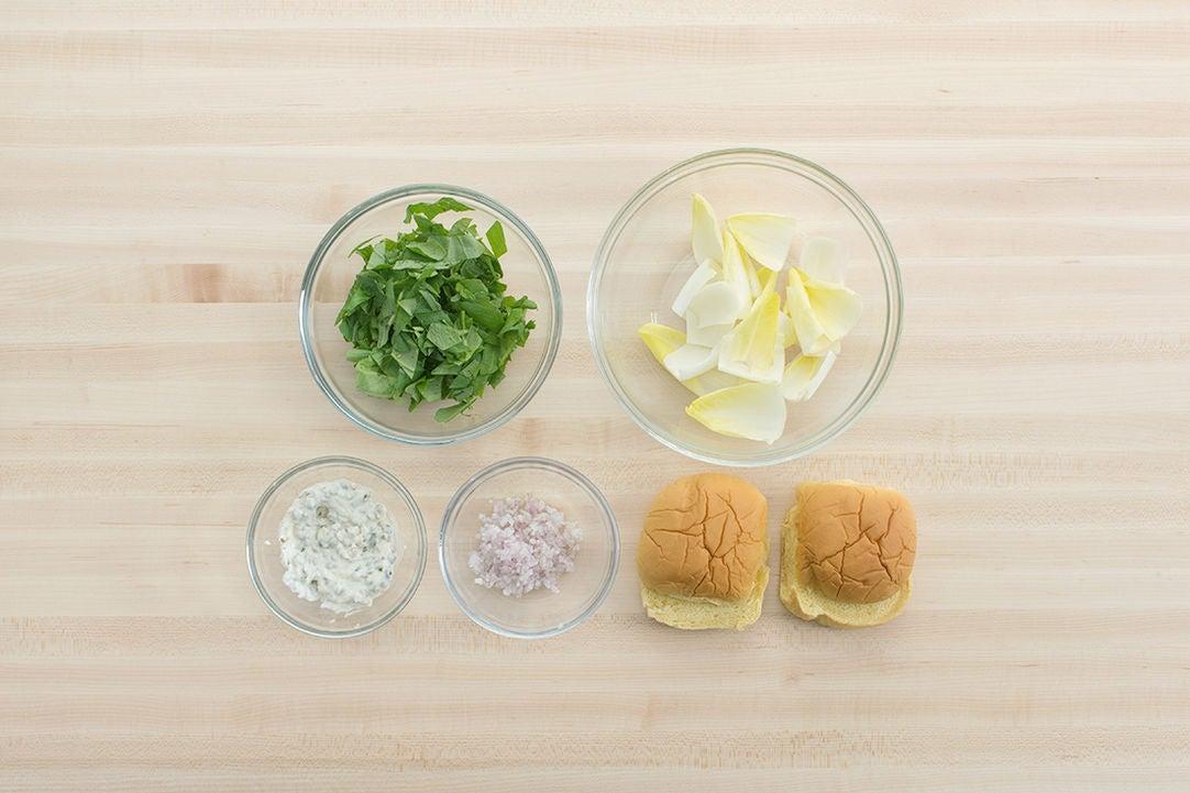Prepare the ingredients & make the caper aioli: