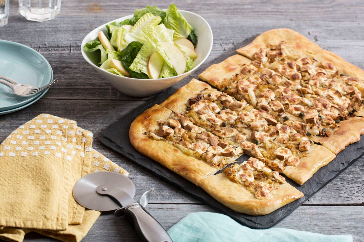 Smoked Mozzarella & Cabbage Pizza with Romaine & Apple Salad