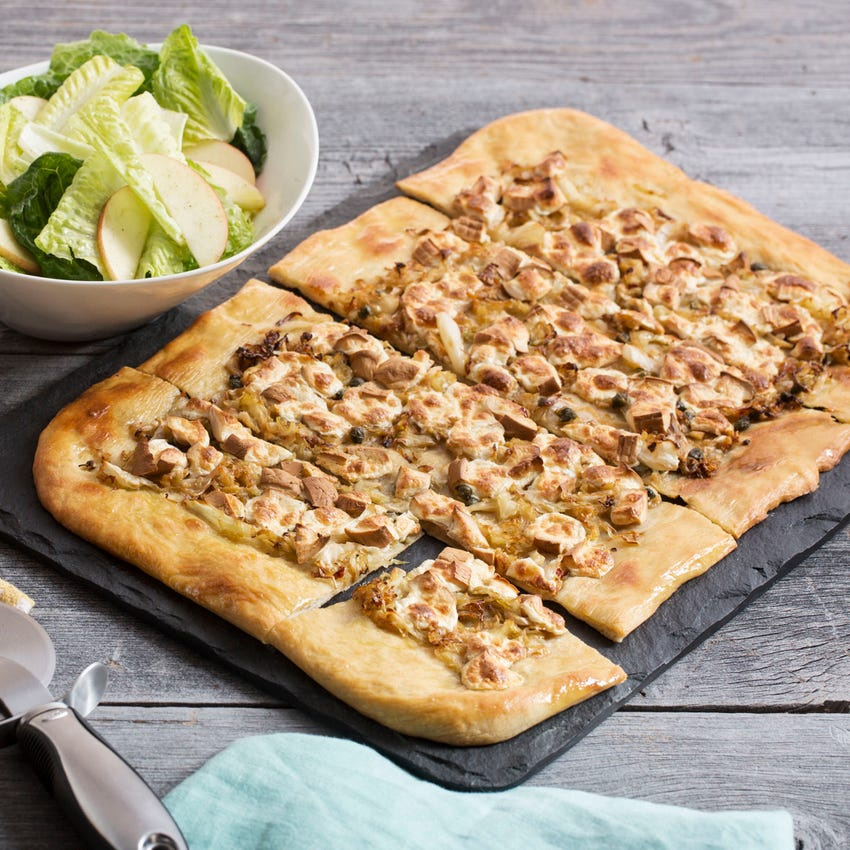 Smoked Mozzarella & Cabbage Pizza with Romaine & Apple Salad