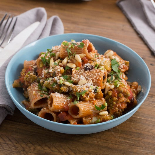 Sicilian-Style Rigatoni Pasta with Cauliflower & Toasted Pine Nuts