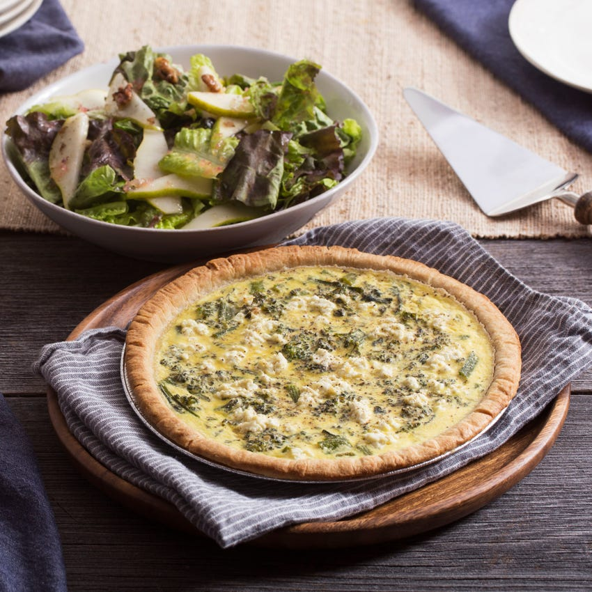 Broccolini & Goat Cheese Quiche with Red Leaf Lettuce & Pear Salad