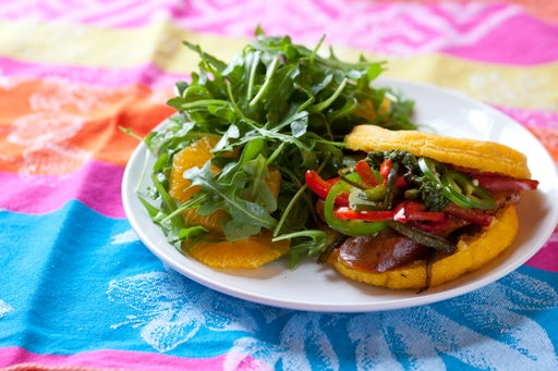 Chorizo Arepas with Arugula & Orange Salad