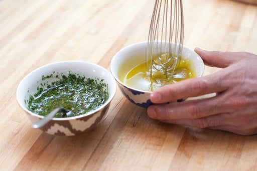 Make the chimichurri sauce & the salad dressing: