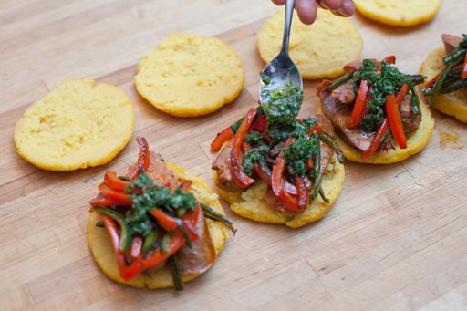 Assemble the arepas & dress the salad: