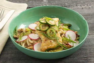 Seared Cod & Udon Noodles with Shiitake Broth & Togarashi-Spiced Cucumber
